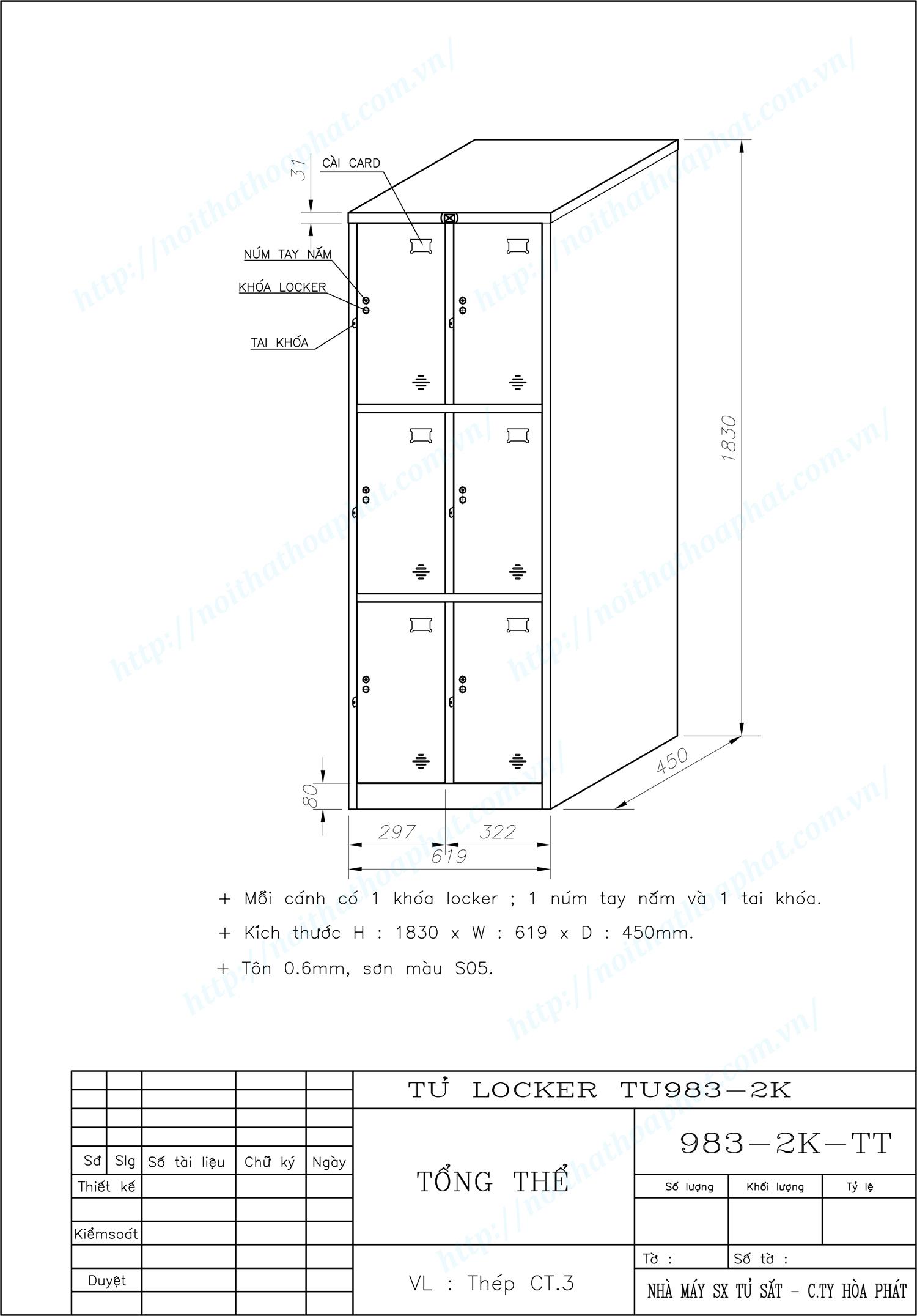 Bản vẽ kỹ thuật tủ locker 6 ngăn TU983-2K
