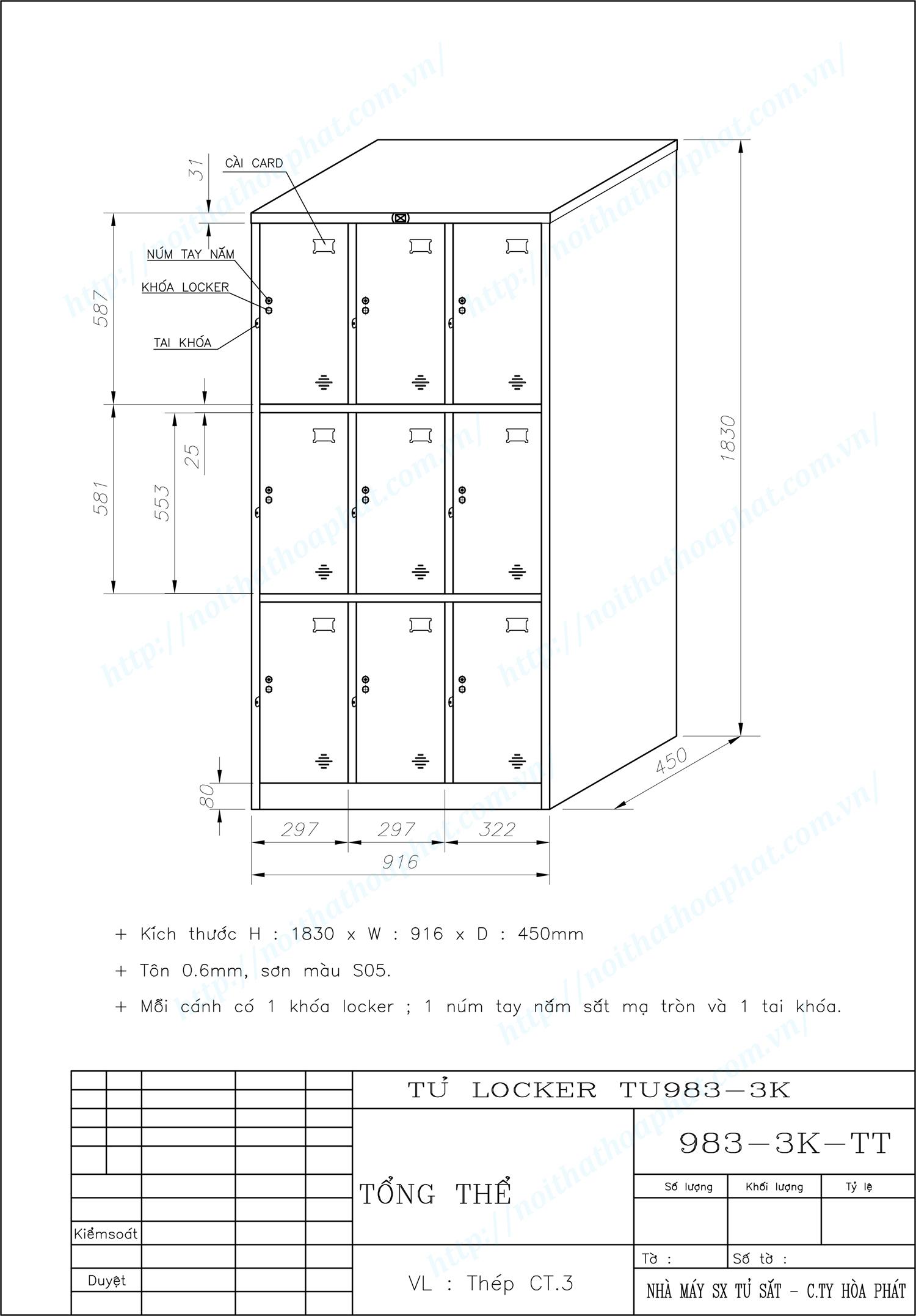 Bản vẽ kỹ thuật tủ locker 9 ngăn TU983-3K