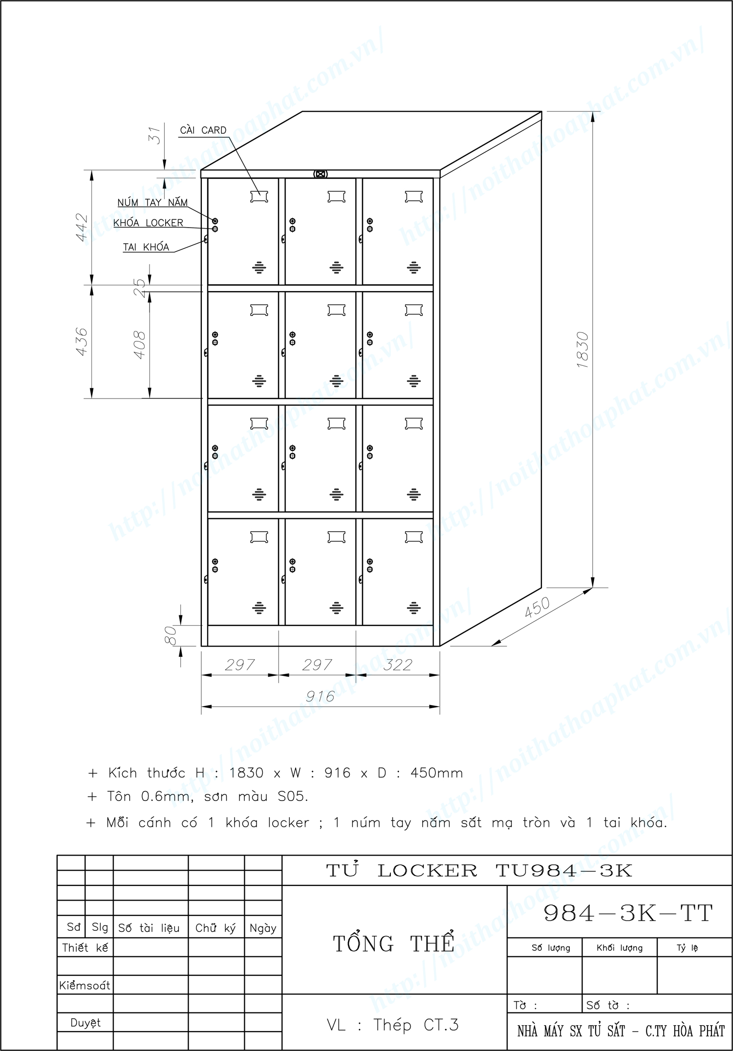 Bản vẽ kỹ thuật tủ locker 12 ngăn TU984-3K