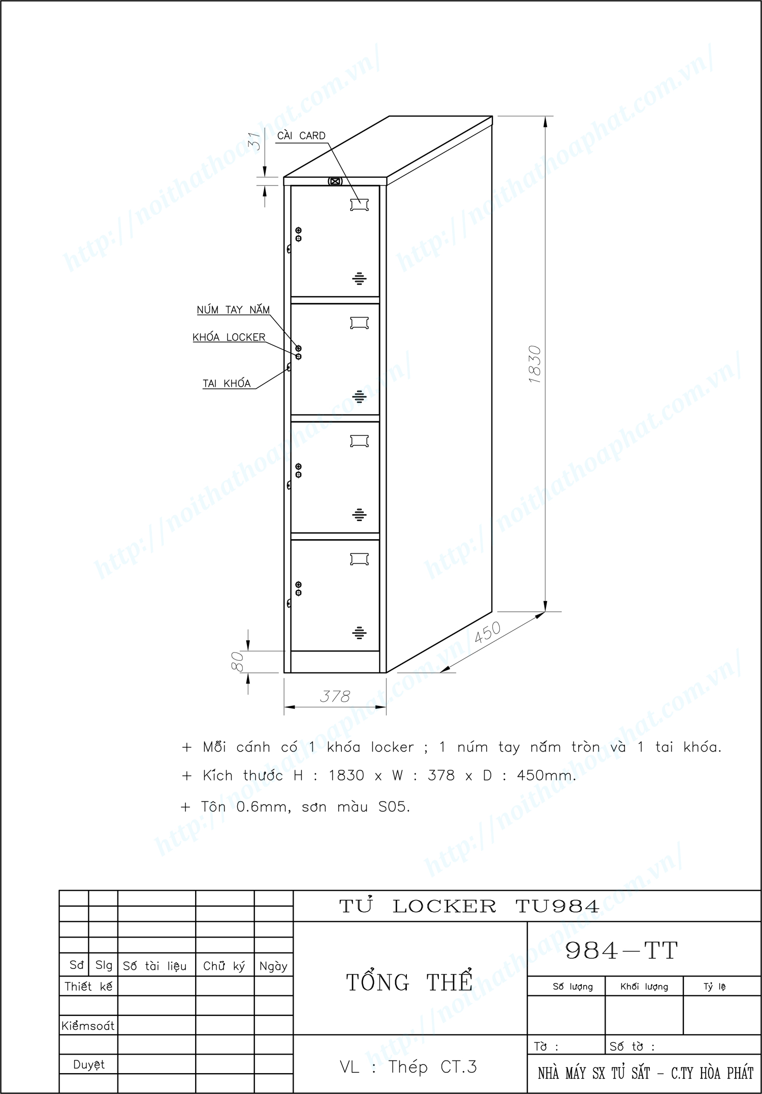 Bản vẽ kỹ thuật tủ locker 4 ngăn TU984