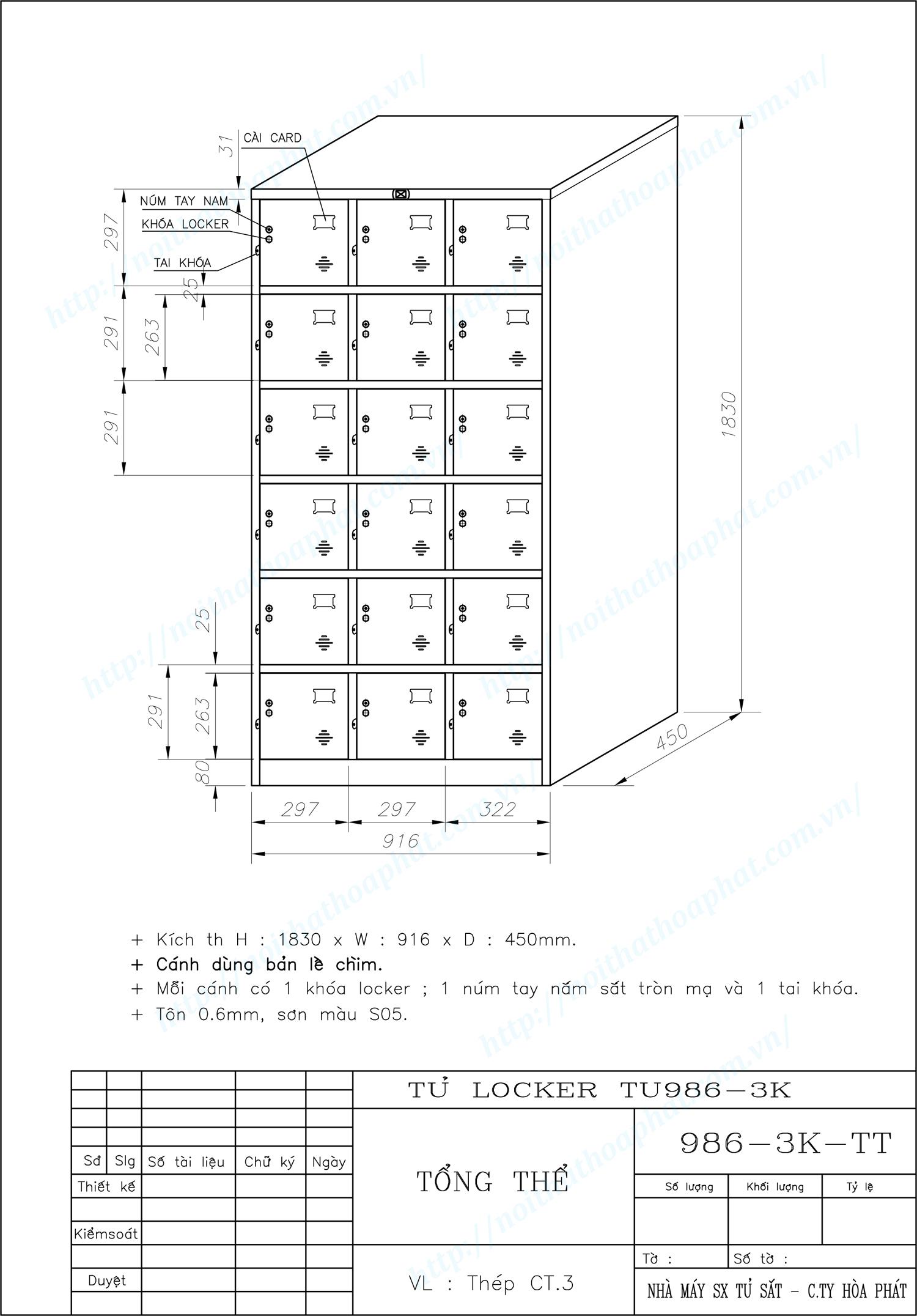 Bản vẽ kỹ thuật tủ locker 18 ngăn TU986-3K