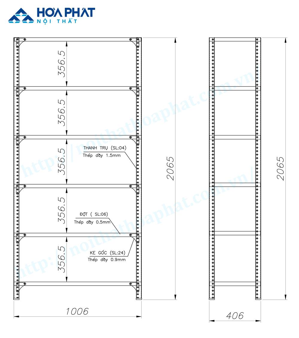 Bản vẽ kỹ thuật sản phẩm giá kệ sắt lỗ Hòa Phát GS1B