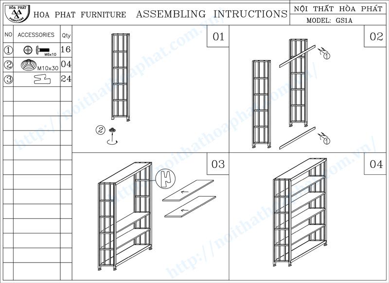 Hướng dẫn lắp đặt giá thư viện 5 tầng GS1A
