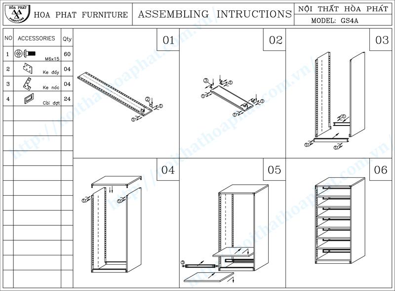 Hướng dẫn lắp đặt giá thư viện 2 mặt 7 tầng hòa phát GS4A