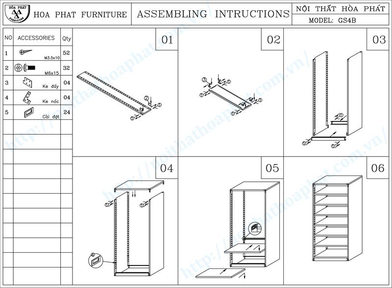 Hướng dẫn lắp đặt giá thư viện 1 mặt 7 tầng hòa phát GS4B