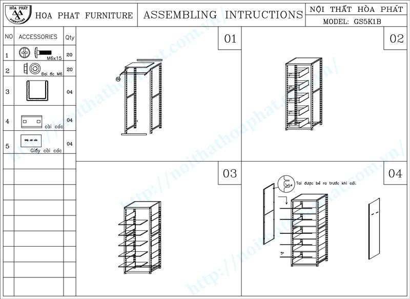 Hướng dẫn lắp đặt giá thư viện 2 mặt 5 tầng hòa phát GS5K1B