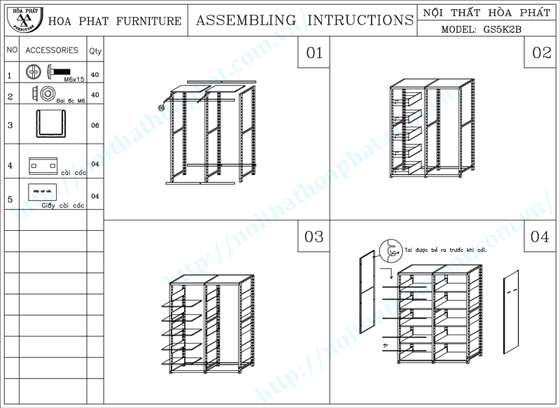 Hướng dẫn lắp đặt giá thư viện 5 tầng 2 khoang 2 mặt Hòa Phát GS5K2B