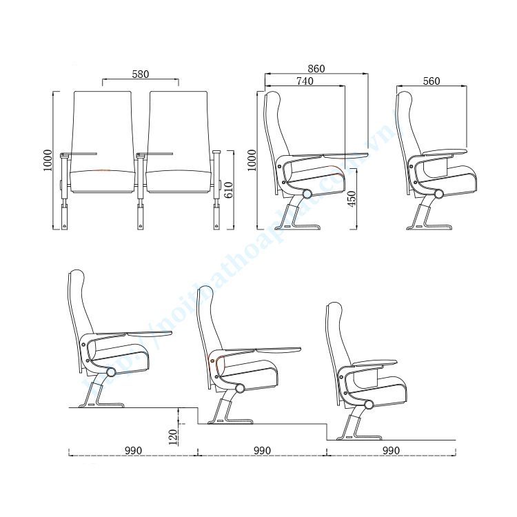 Bản vẽ lắp đặt ghế hội trường cao cấp TC06B