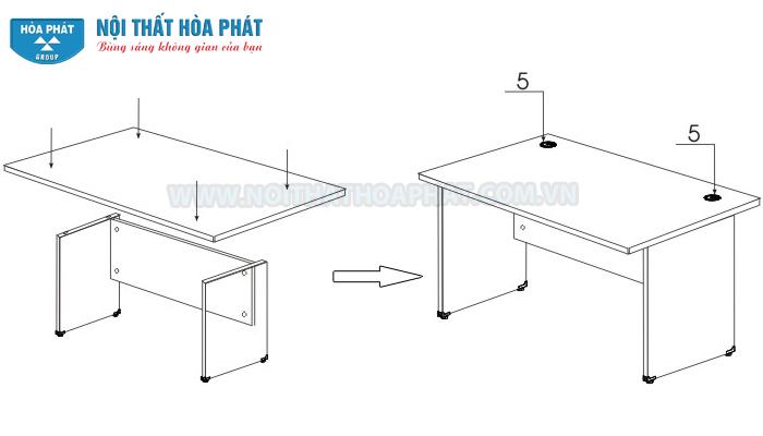 Hướng dẫn lắp đặt bàn hòa phát HP120, HP120S