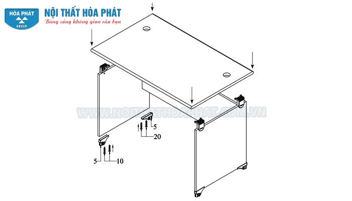 Hướng dẫn lắp đặt bàn làm việc NT120-180