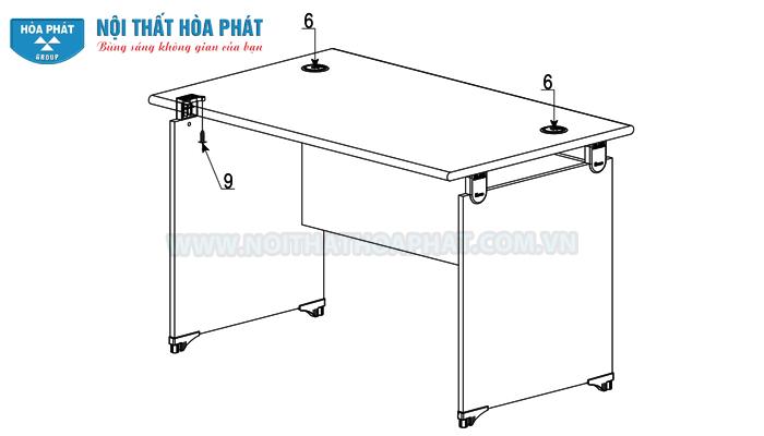 lắp đặt bàn làm việc NT120-180 hoàn thiện