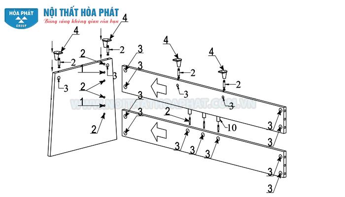 Lắp chân bàn lãnh đạo HRP1890