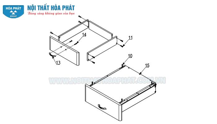 lắp khay ngăn kéo bàn liền giá sách NTB01