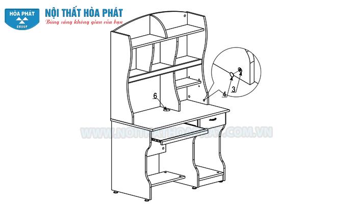 Hướng dẫn lắp đặt bàn liền giá sách NTB01
