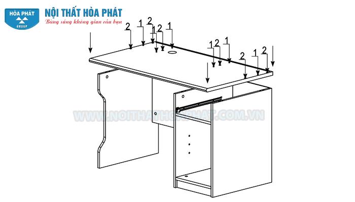 Hướng dẫn lắp đặt bàn liền giá sách NTB02
