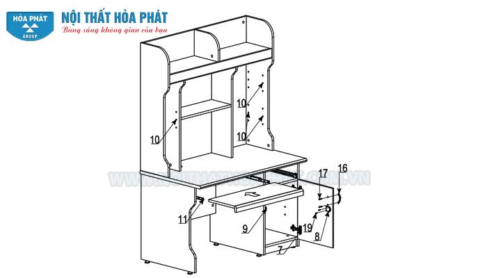 lắp khay ngăn kéo bàn NTB02