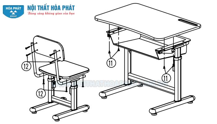 Hướng dẫn lắp đặt bộ bàn học sinh BHS29, GHS29
