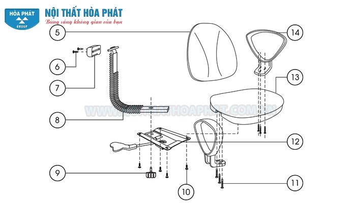 Lắp cụm đệm tựa ghế SG550
