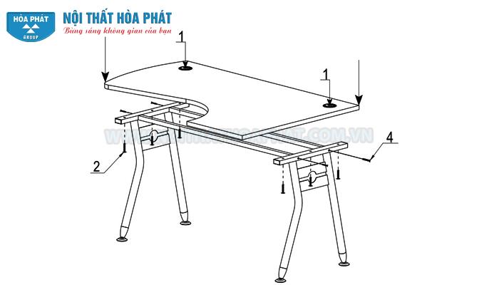 lắp đặt bàn làm việc chân sắt của Module HRMD04