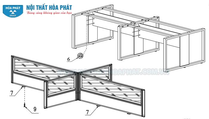 lắp yếm và vách ngăn gỗ kính Module bàn làm việc HRMD05